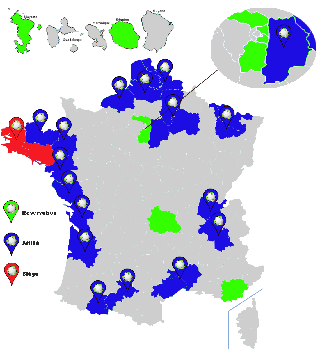 carte des implantations